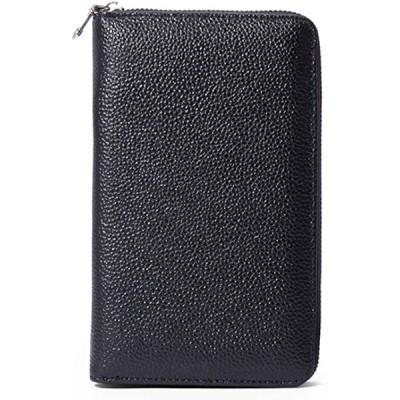 通帳ケース 大容量 磁気防止 スキミング防止 レザー キャッシュカード 通帳入れ パスポートケース RFID(ブラック)