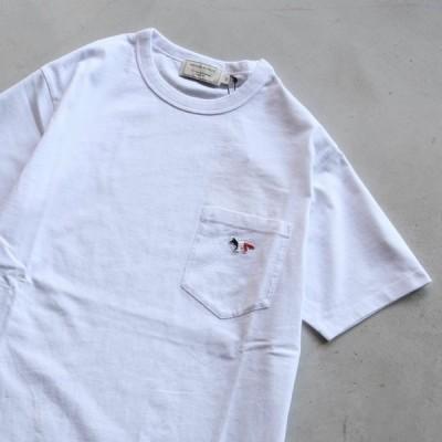 メゾンキツネ MAISON KITSUNE Tシャツ TRICOLOR FOX PATCH CLASSIC POCKET TEE トリコロールフォックスヘッド パッチ Tシャツ WHITE ホワイト 2021春夏新作