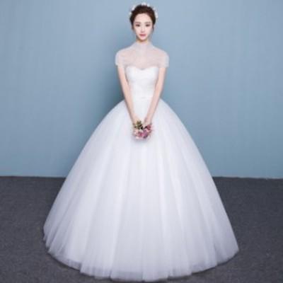 ウェディングドレス 袖あり ホワイトドレス Aライン 結婚式 二次会 花嫁 ブライダルドレス 二次会 ウェディング プリンセスドレス 白ドレ