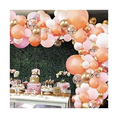 パーティー飾り 風船セット 151個 バルーン風船 ローズゴールド ピンク ホワイト 紙吹雪バルーン 結婚式 誕生日 パーティー装飾