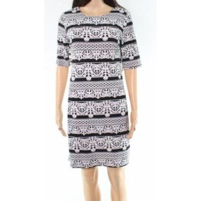 Chetta B チェッタビー ファッション ドレス Chetta B NEW White Black Printed Womens Size 4 Short Sleeve Shift Dress