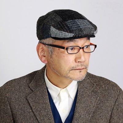帽子 ハンチング 秋冬 メンズ レディース KASZKIET パッチワーク ハリス ツイード カシュケット ギフト チェック グレー系 マルチ