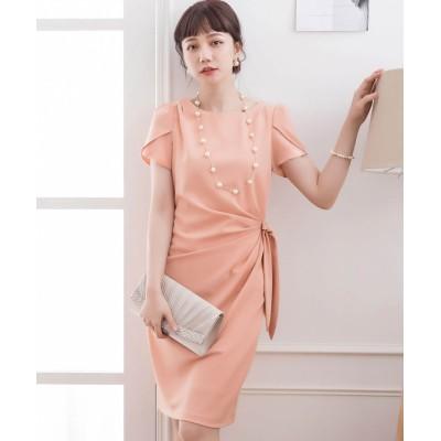 【ドレス スター】 ペタル(チューリップ)スリーブサイドリボンドレーブワンピース レディース ピンク XXLサイズ DRESS STAR