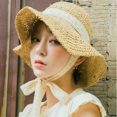 小顔効果抜群!UVカット 紫外線対策 麦わら帽子 レディースハット パナマ帽 クラシカル バックスタイル ツバ広麦わら帽子 ストローハット 中折れハット リボン付帽子 女優帽