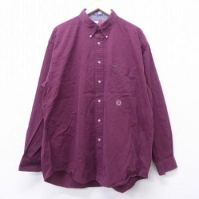 古着 長袖 ブランド シャツ 90年代 90s トミーヒルフィガー TOMMY HILFIGER ワンポイントロゴ 大きいサイズ ロング丈 コットン ボタンダ