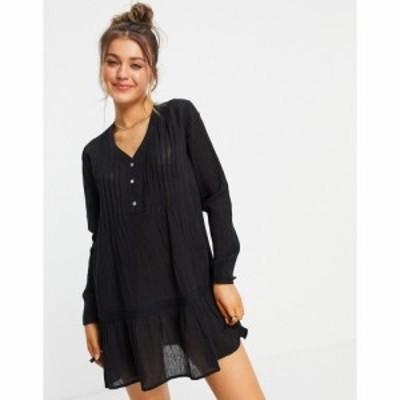 ジェイディーワイ JDY レディース ワンピース ミニ丈 ワンピース・ドレス cotton mini smock dress in black ブラック