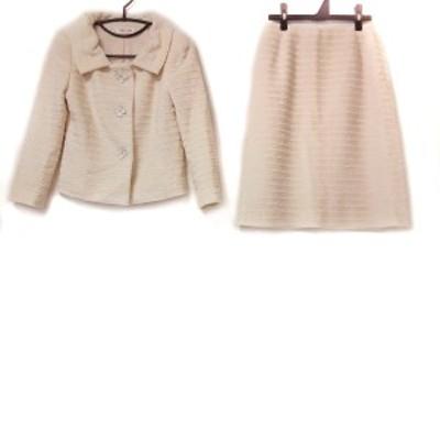 ユキトリイ YUKITORII スカートスーツ サイズ38 M レディース - アイボリー×白 ビーズ【中古】20210608