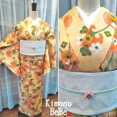 紬 袷 正絹 クリーム地 花 オレンジの葉
