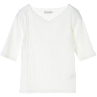 アースミュージックアンドエコロジー earth music&ecology ・5分袖衿スカラップ刺繍テレコプルオーバー (Off White)
