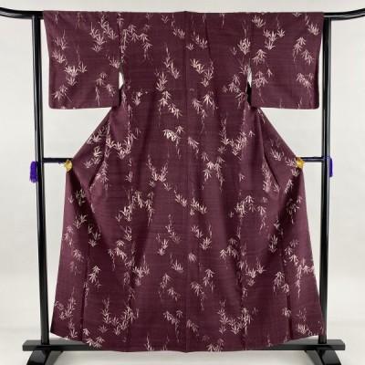 小紋 優品 紬地 葉柄 赤紫 袷 158cm 62cm S 正絹 中古