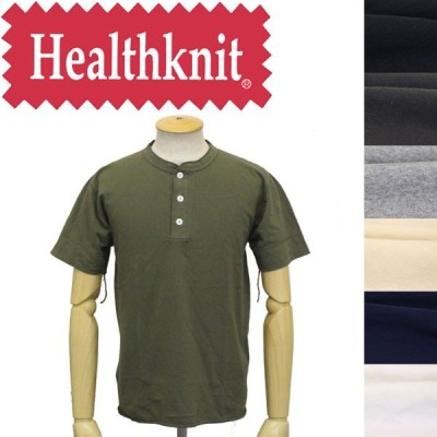 Healthknit (ヘルスニット) P-906S ヘンリーネック 半袖Tシャツ 全7色 HK001
