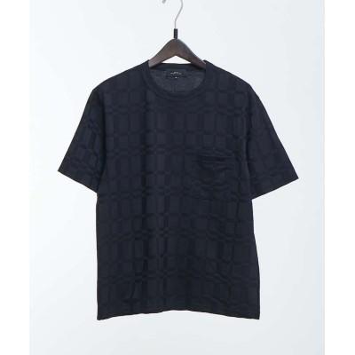 【アバハウス】 リンクスブロックジャガード半袖Tシャツ メンズ ダークネイビー 44 ABAHOUSE