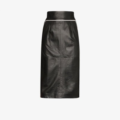 Skiim レディース ひざ丈スカート スカート Vida contrast piping leather skirt black