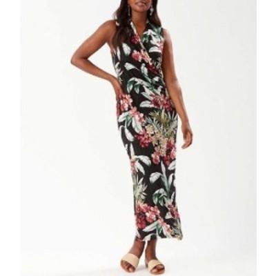 トッミーバハマ レディース ワンピース トップス Oceanic Orchid Floral Print Sleeveless Ruched Waist Faux Wrap Maxi Dress Black