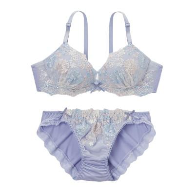 フェミニンフラワリー刺しゅう ブラジャー。ショーツセット(D70/M) (ブラジャー&ショーツセット)Bras & Panties