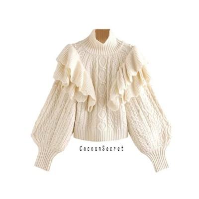 ニット レディース タートルネック フリル ケーブル編み トップス 可愛い 長袖