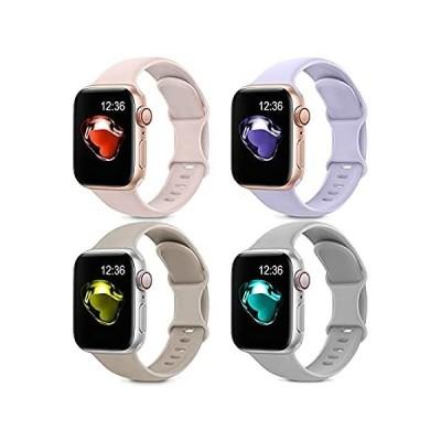 特別価格4 Pack Sport Silicone Bands Compatible with Apple Watch Bands 42mm 44mm Wom並行輸入品