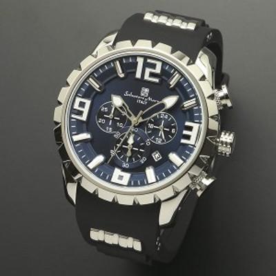 取寄品正規品SalvatoreMarra腕時計サルバトーレマーラ SM15107-SSBL 立体インデックス ウレタン メンズ腕時計 送料無料