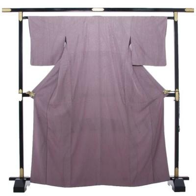 リサイクル 小紋着物 中古 高級小紋 総刺しゅう スワトウ 紫 カジュアル 正絹 リサイクル着物