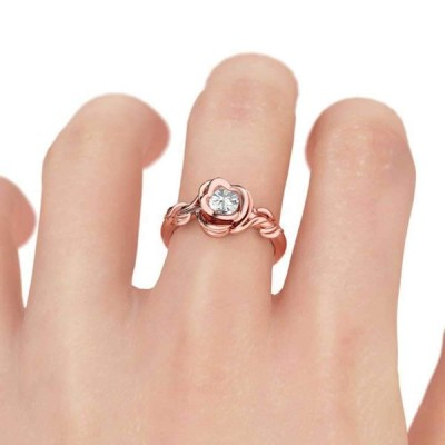 XAHH Rose Flower Ring for Women 18k Rose Gold Halo CZ Solitaire Promis