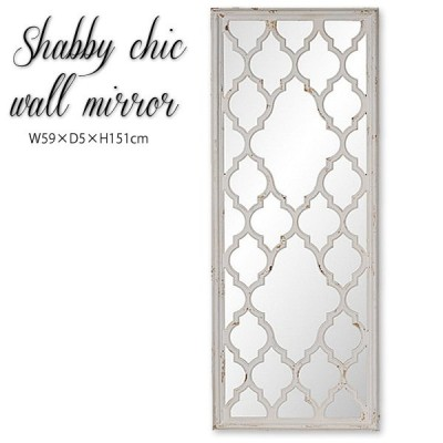 ウォールミラー 鏡 壁掛け 装飾鏡 アンティーク調 デコフレーム シャビーシック 豪華 ディスプレイミラー 大型ミラー ホワイト 店舗什器