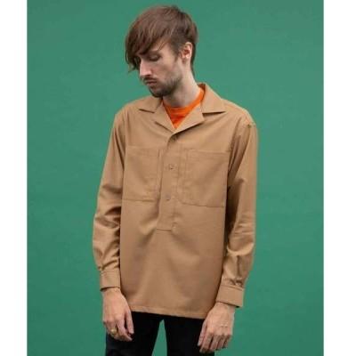 シャツ ブラウス クリアツイルプルオーバーオープンカラーシャツ