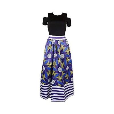 Adogirl Women African Floral Print Skirt Boho High Waist Maxi Skirt with Po