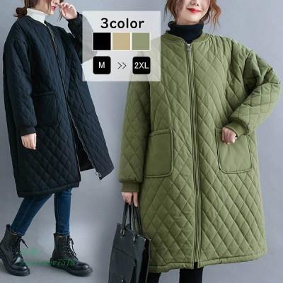コート 中綿コート キルティングコート ロング丈 暖かい 羽織り 防寒 アウター 秋冬 ロングコート