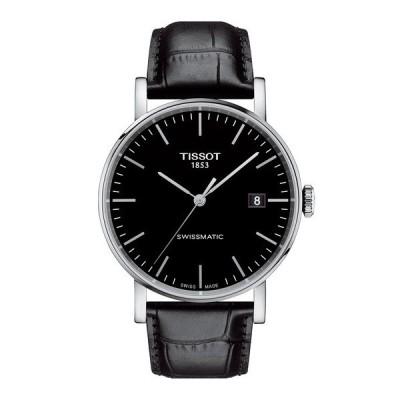 腕時計 [ティソ] TISSOT エブリタイム スイスマティック ブラック文字盤 レザー
