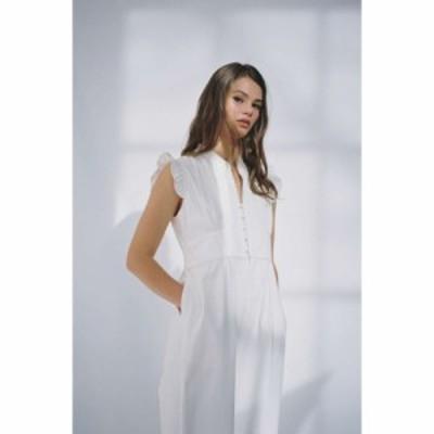 ニール NEUL レディース オールインワン ジャンプスーツ ワイドパンツ ワンピース・ドレス frilly wide leg jumpsuit White