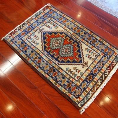 ペルシャ トルクメン絨毯 トライバルラグ 幾何学 部族織り 玄関マット 92×64.5 W-637