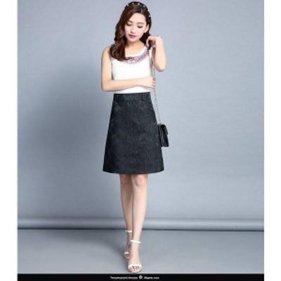 花柄刺繍が上品な膝丈スカート ap0545