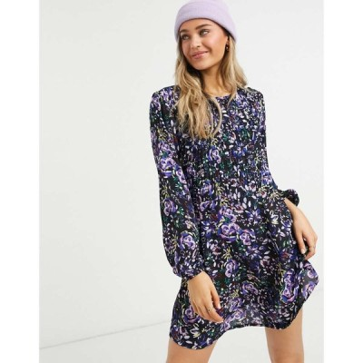 ジェイディーワイ JDY レディース ワンピース ワンピース・ドレス mini smock dress in dark floral print