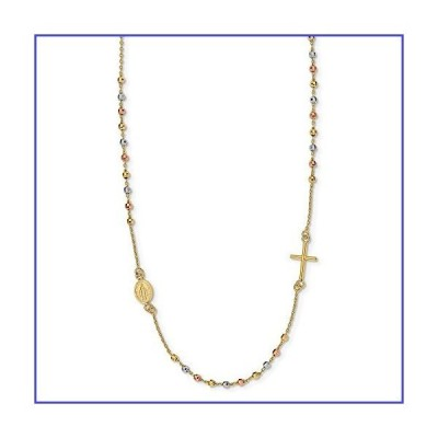 Solid 14k Tri Three Color Gold Sideways Cross Beaded Rosary Style Necklace Chain