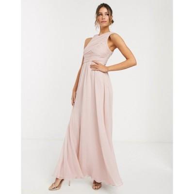 エイソス レディース ワンピース トップス ASOS DESIGN Bridesmaid maxi dress with soft pleated bodice