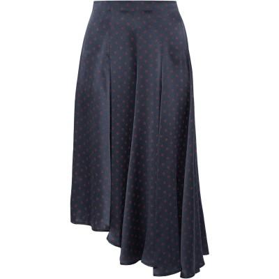 VINCE. 7分丈スカート ダークブルー S シルク 100% 7分丈スカート