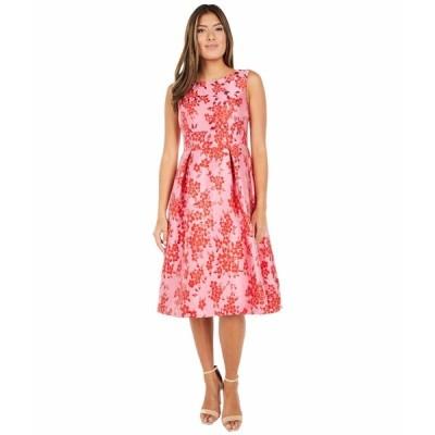 アドリアナ パペル ワンピース トップス レディース Cherry Blossom Jacquard Midi Dress Fuchsia/Red