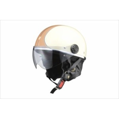 LEAD リード工業 O-ONE オー・ワン シールド付きハーフヘルメット アイボリー/ブラウン 【NF店】