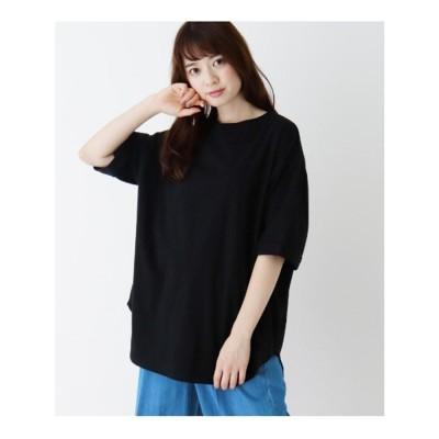 シューラルー SHOO-LA-RUE 【M-L】USAコットン裾ラウンドゆるTシャツ (ブラック)