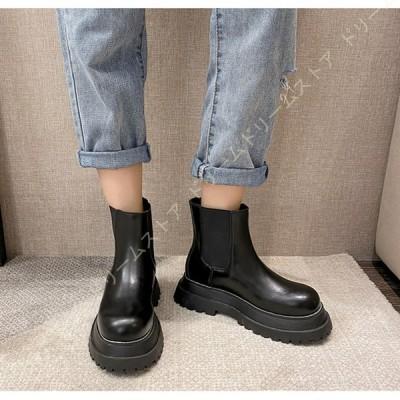 サイドゴアブーツ ショートブーツ レディース 靴 7cm ヒール 太ヒール ブーティ ハイヒール おじ靴 幅広 痛くない 疲れない アンクルブーツ 大きいサイズ 春秋