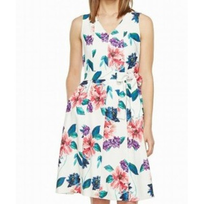 Ellen Tracy エレントレーシー ファッション ドレス Ellen Tracy NEW White Womens Size 14 V-Neck Floral Print A-Line Dress