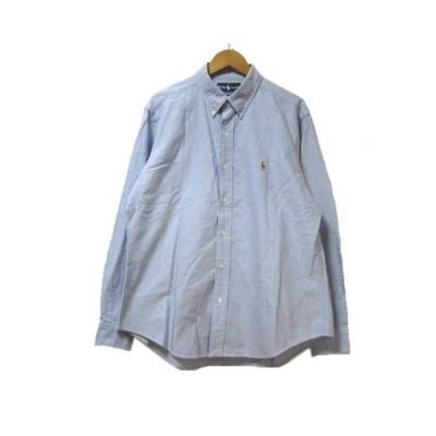 【中古】ラルフローレン RALPH LAUREN シャツ 長袖 オックス BD ボタンダウン CLASSIC FIT ワンポイント LL/17 1/2 大きいサイズ 青 ブルー コットン X メンズ