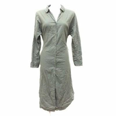【中古】ショコラフィネローブ chocol raffine robe シャツワンピース ひざ丈 スキッパーカラー 長袖 F 緑 カーキ
