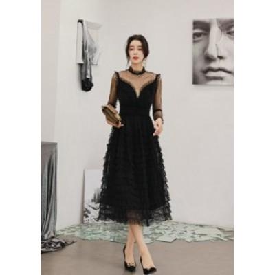 結婚式ドレスお呼ばれワンピース20代30代二次會フリルマキシシフォン上品エレガントおしゃれシースルーセクシー