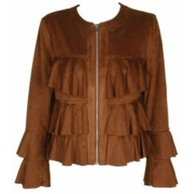 Ruffle  ファッション 衣類 Inc International Concepts Brown Ruffle Faux Suede Jacket with