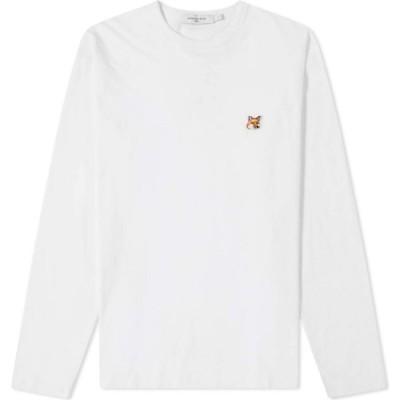 メゾン キツネ Maison Kitsune メンズ 長袖Tシャツ トップス Long Sleeve Fox Head Patch Regular Tee White