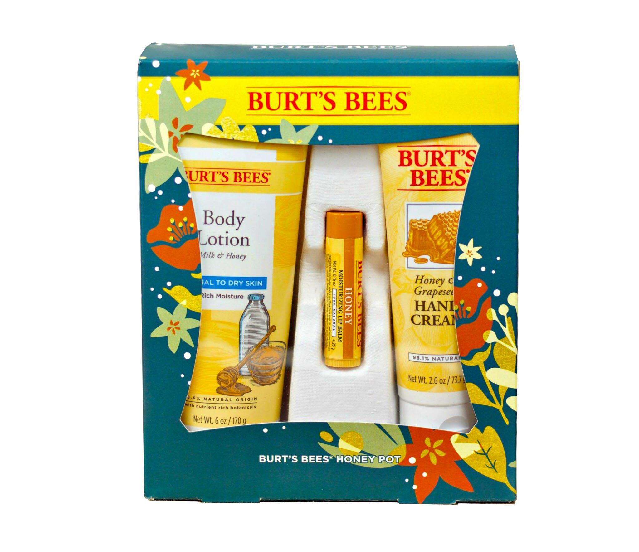 【彤彤小舖】Burt s bees 蜜蜂爺爺 蜂蜜節慶禮盒組 3件組 蜂蜜禮盒 護唇膏 潤膚乳 手部修護霜