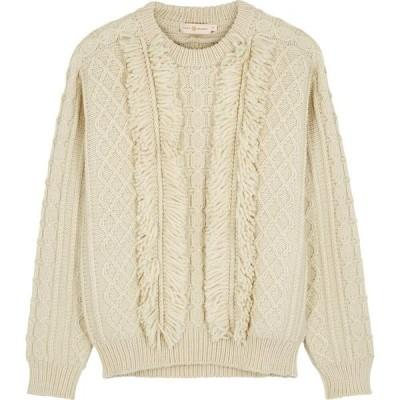 トリー バーチ Tory Burch レディース ニット・セーター トップス Ivory Fringed Cable-Knit Wool Jumper Natural