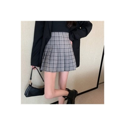 【送料無料】カレッジ風 グリッドスカート 秋 女性のスカート 気質 ハイウエスト 何 | 364331_A63858-1602412