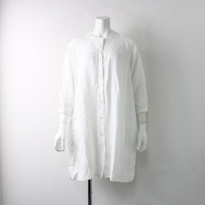 TANDEY タンディ オローネ ノーカラーリネンシャツワンピース FREE/ホワイト 羽織り ハオリ 麻 2400011905505